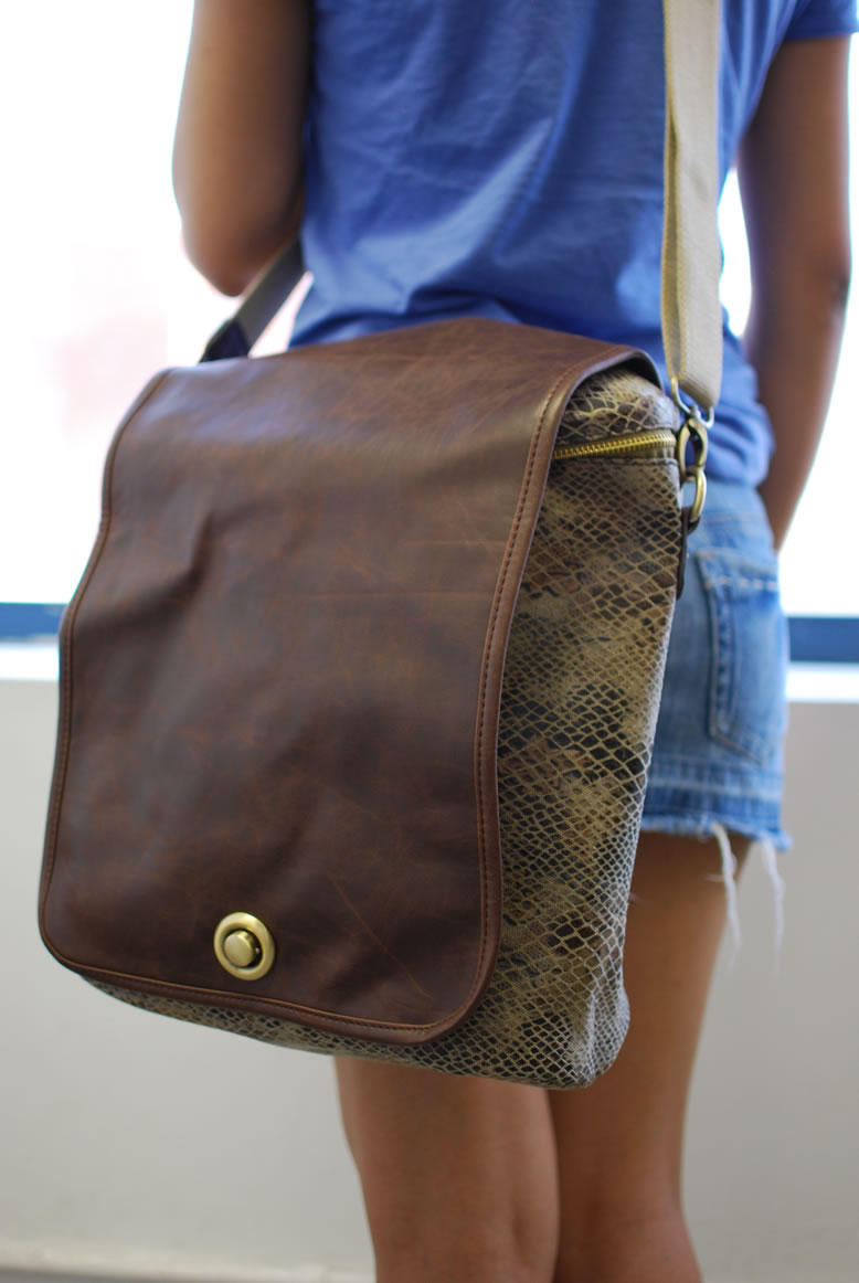premium snake print backpack with pu flap convertible to