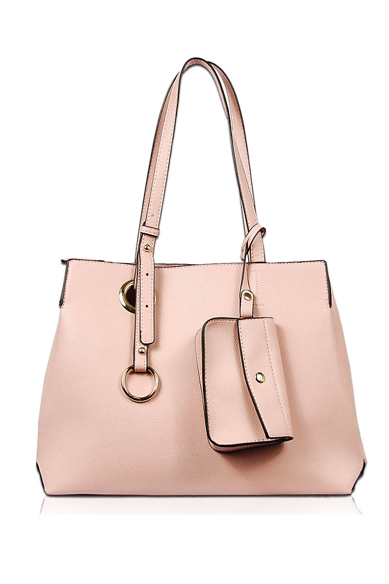 Solid Two In One Slim Handle Tote Bag With Shoulder Strap