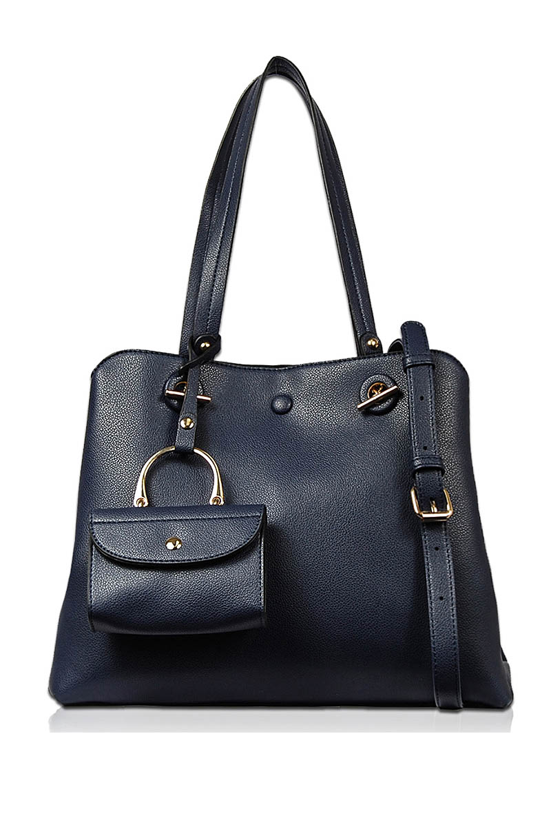 Solid Two In One Top Handle Tote Bag With Shoulder Strap