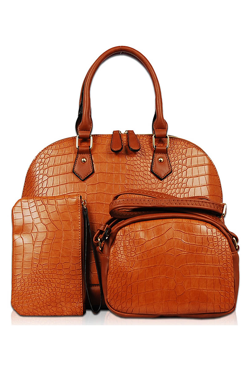 Three In One Solid Shinny Croco Satchel Messenger And