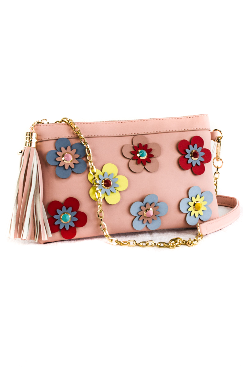 Solid 3d Flower With Tassels Clutch With Chain Strap Agp Handbags