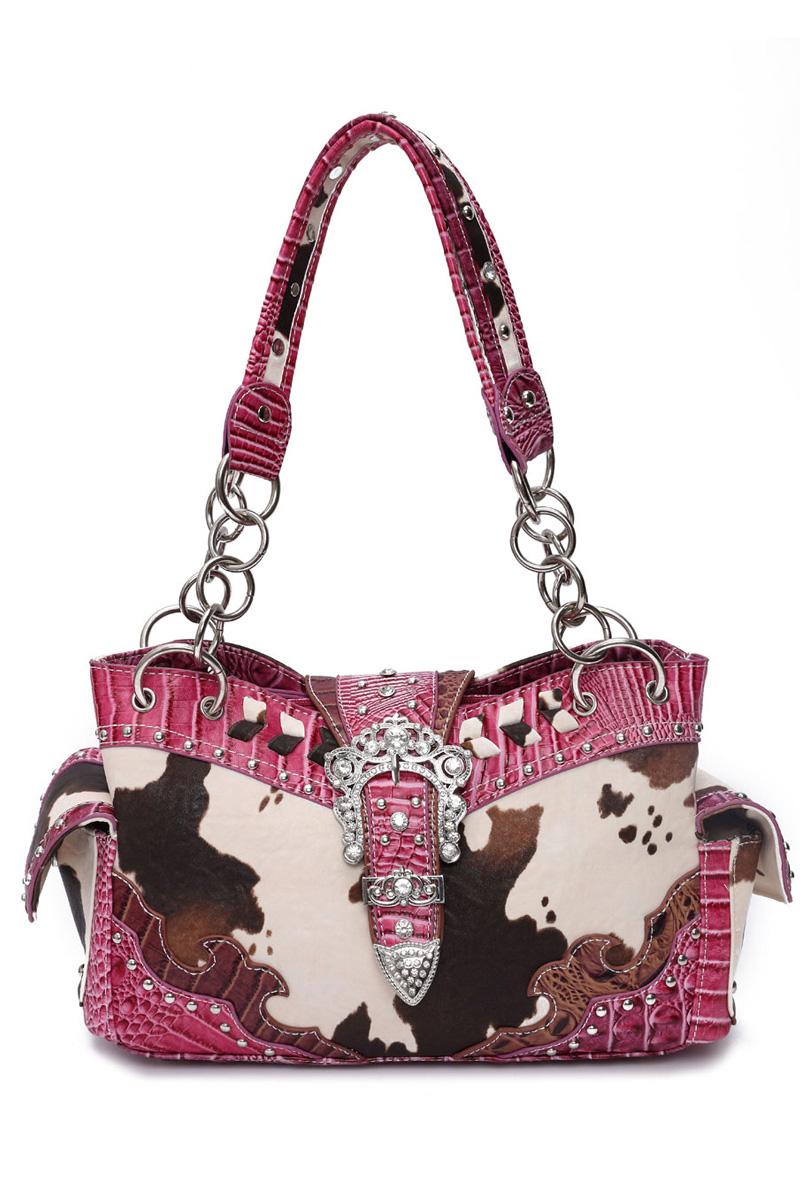 a8f6604121e4 Western Cowgirl Cow Print Belt Buckle Deco Two Side Pocket Satch ...
