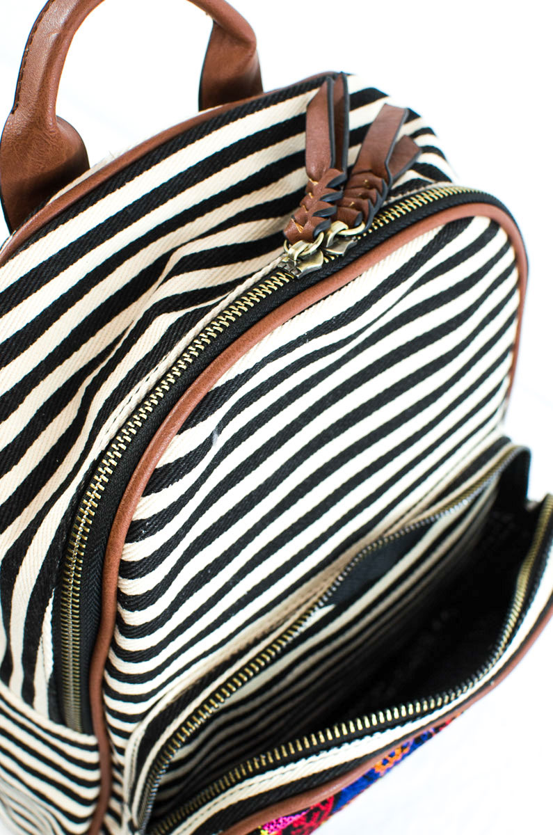 Aztec And Stripe Canvas Mini Backpack With Front Zipper