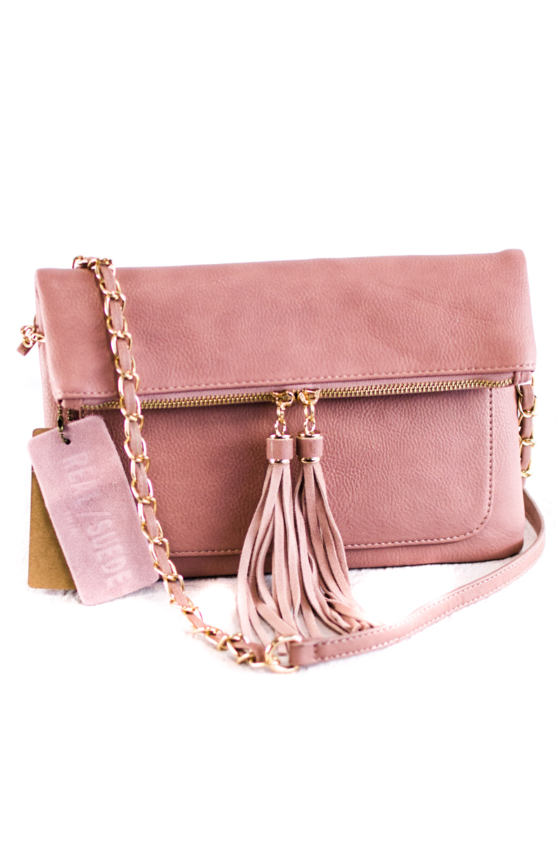 Solid Flap Over With Tassels Clutch With Chain Strap - Agp