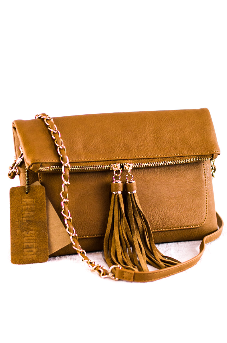 Solid Flap Over Tassels Centered Clutch With Chain Strap