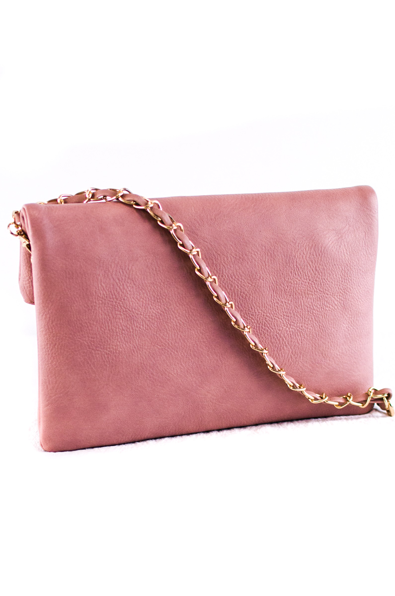 Solid Flap Over Tassels Zipper Pull Clutch With Chain