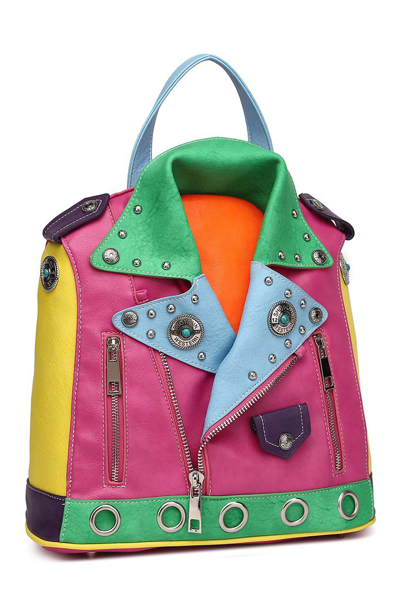 Colorful Jacket Inspired Backpack With 2 Front Zippers