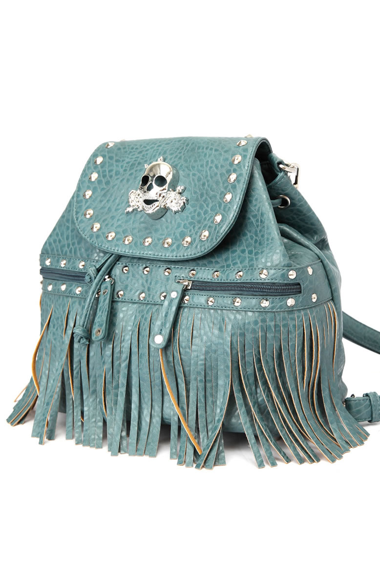 Metal Skull and Studs Design Flap Over Fringe Back Pack ...