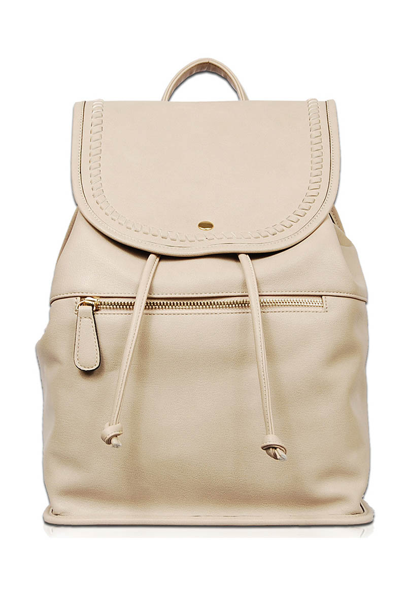 4ae7c1272b Solid Flap Over Front Zippered Drawstring Backpack - Agp Handbags ...