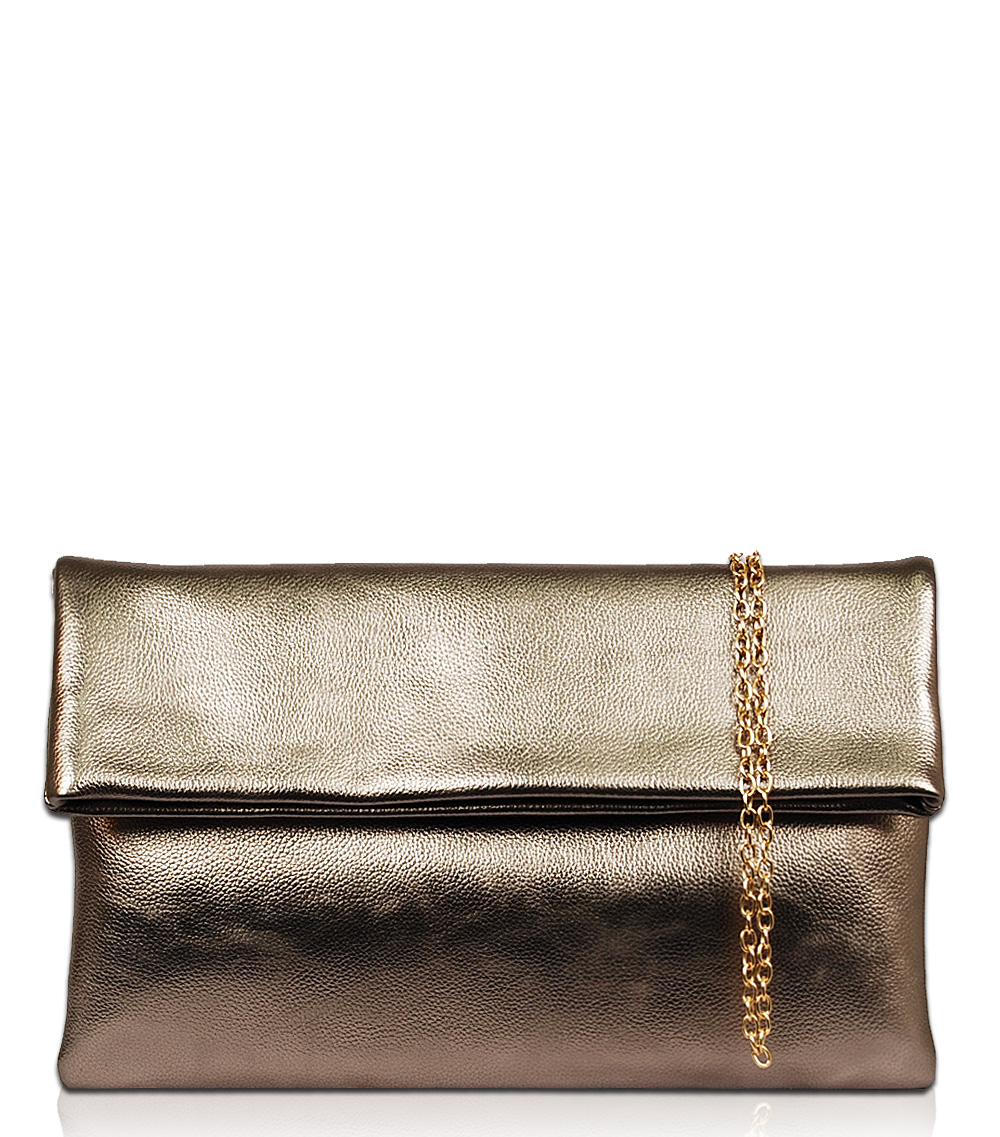 Solid Crocodile Flap Over Clutch With Chain Strap - Agp