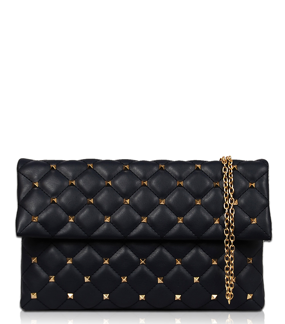 Solid Quilted Flap Over Clutch With Chain Strap - Agp