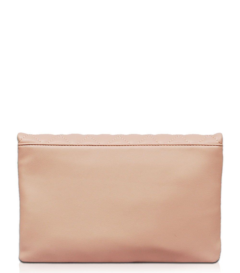 Solid Big And Small Pearl Flap Over Clutch With Chain