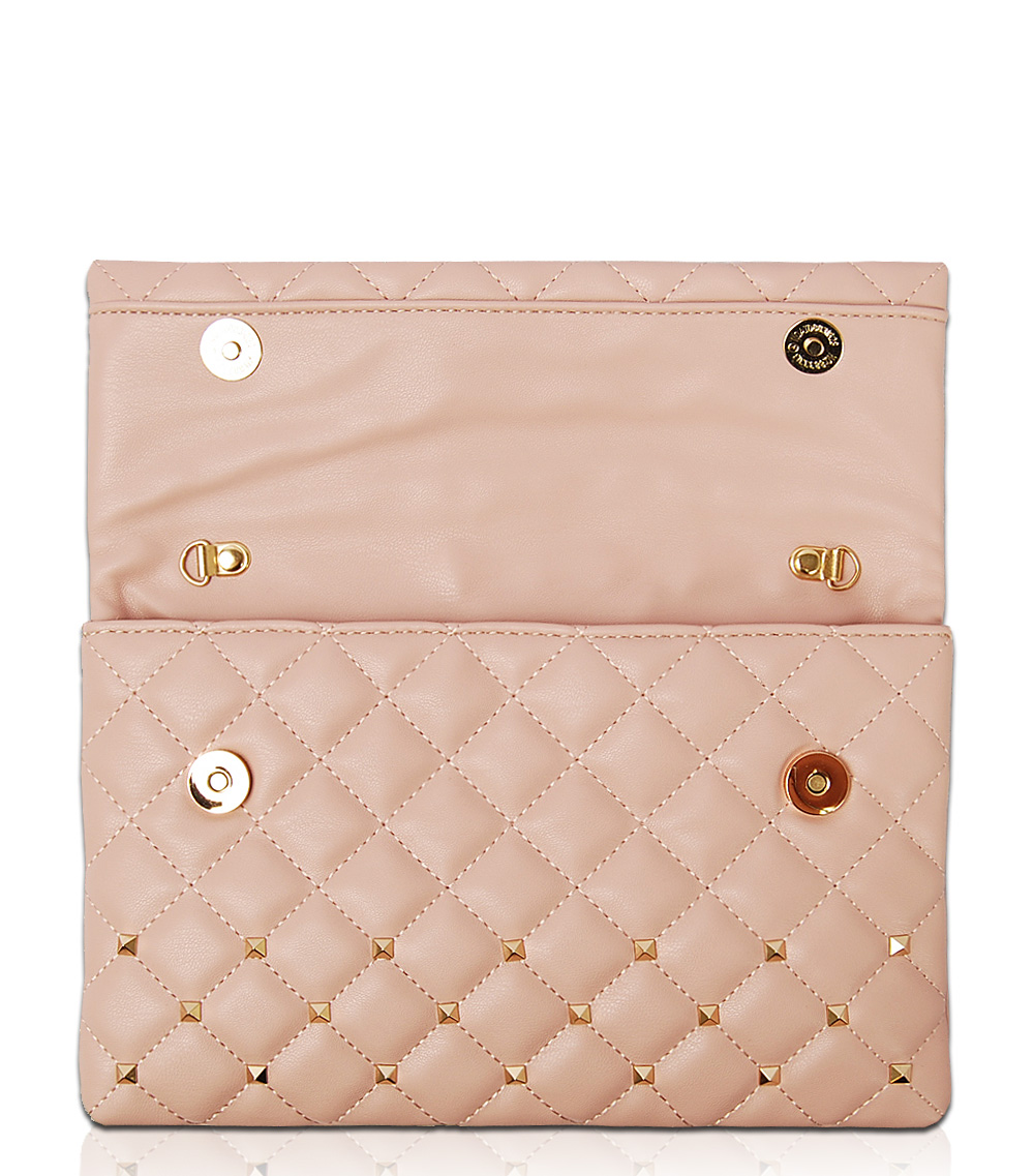 Solid Flap Over Metallic Clutch With Chain Strap - Agp