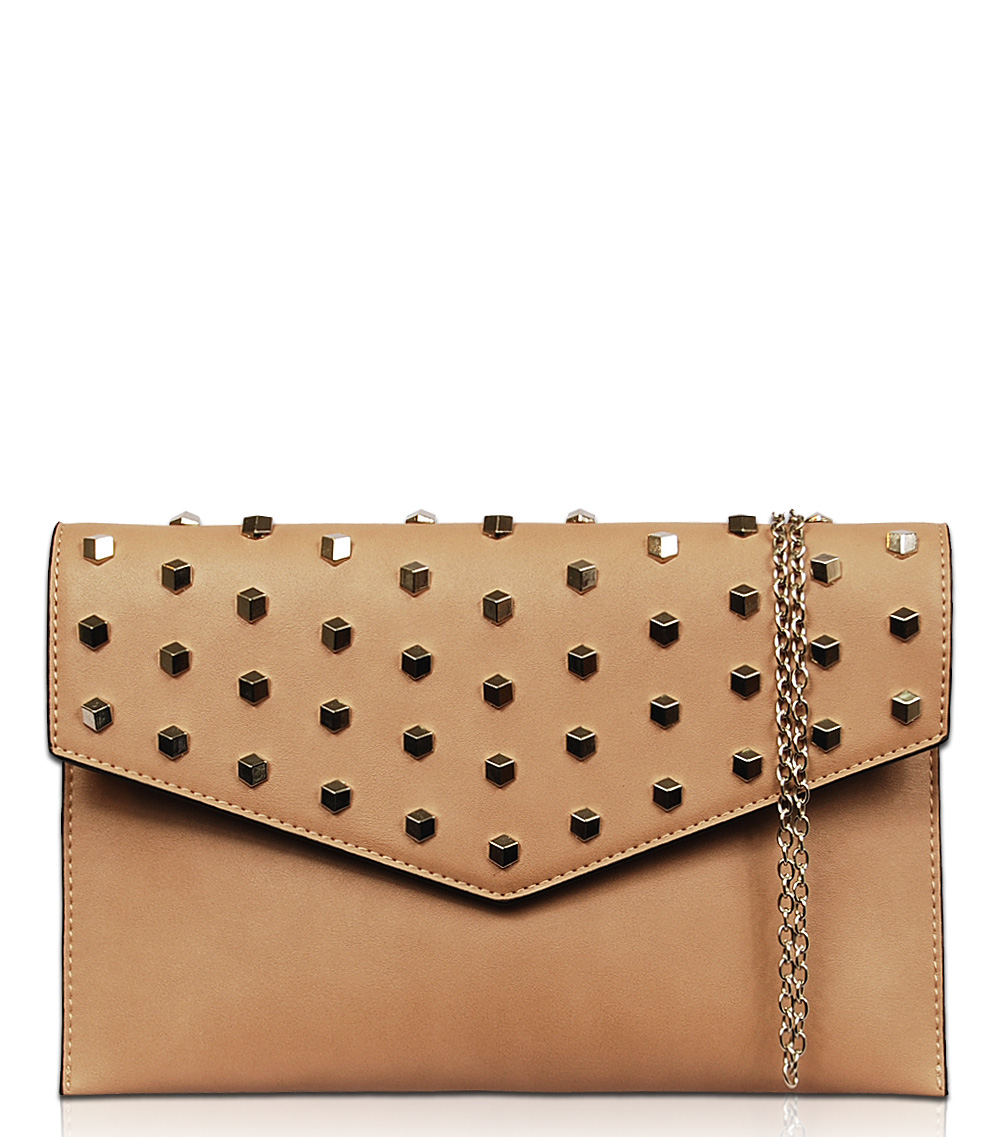 Solid All Over Rhinestone Flap Over Clutch With Chain