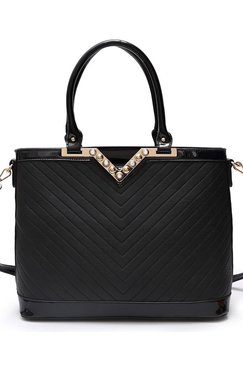 Ingrid V Shape Quilted Top Handle Tote Bag With Strap