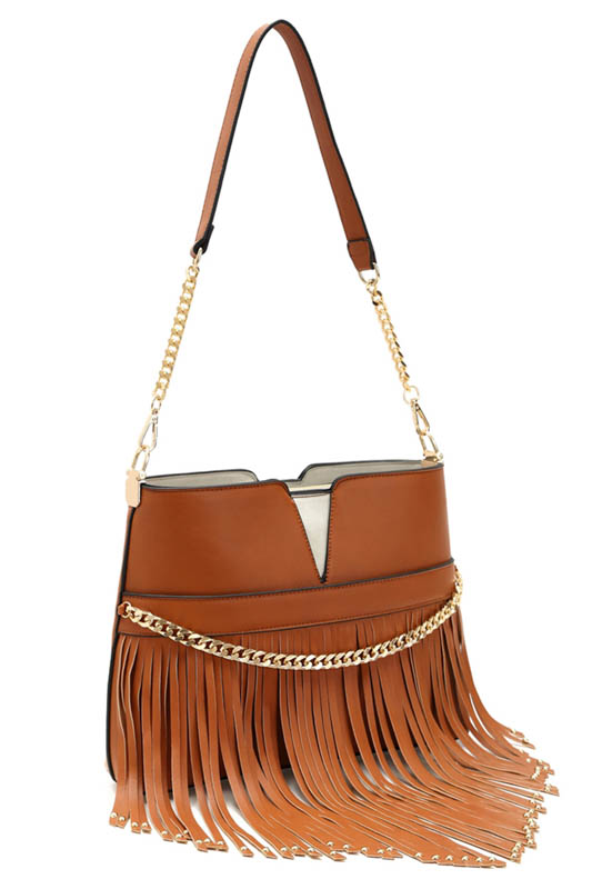Long V Shape Fringe And Chain Accented Small Shoulder Bag