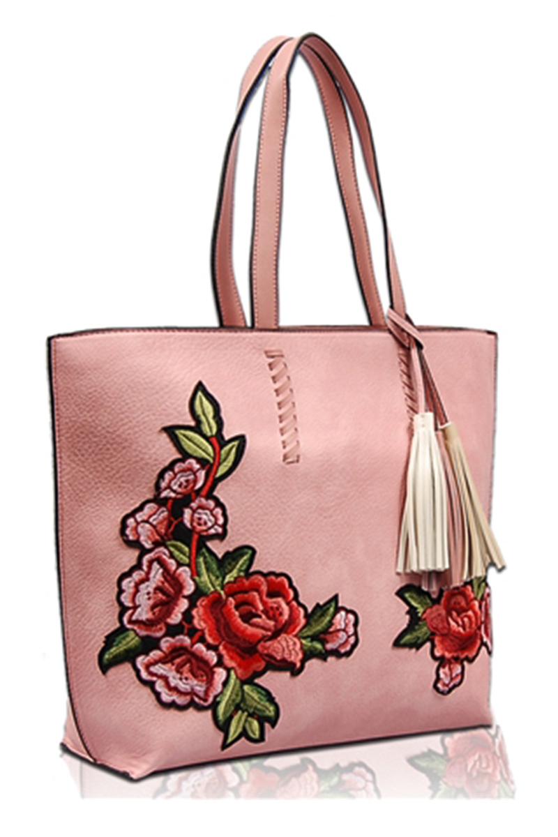 Solid Flower Embroidery Tote Bag With Tassels Agp Handbags Apparel