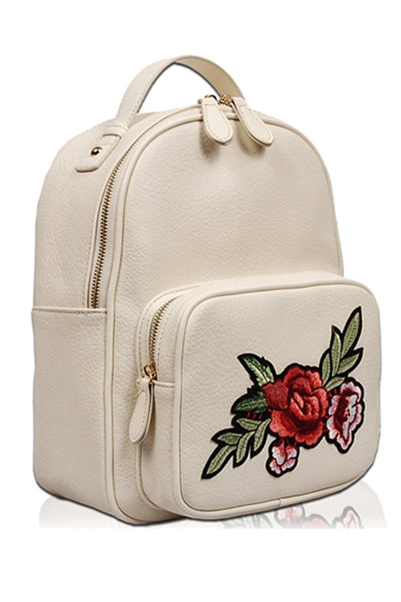 Solid Flower Embroidery Back Pack With Front Zipper Pocket