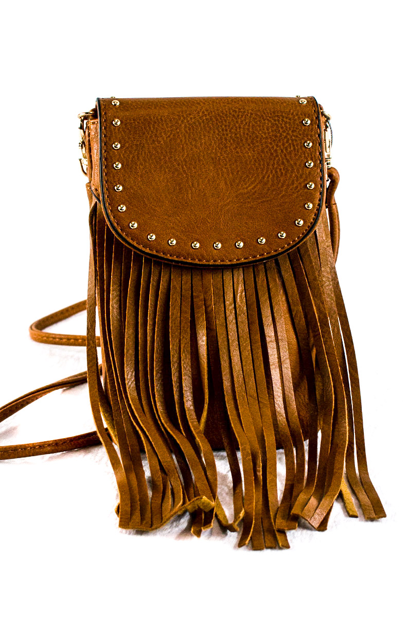 Fringe Messenger Cellphone Pocket Shoulder Bag Agp