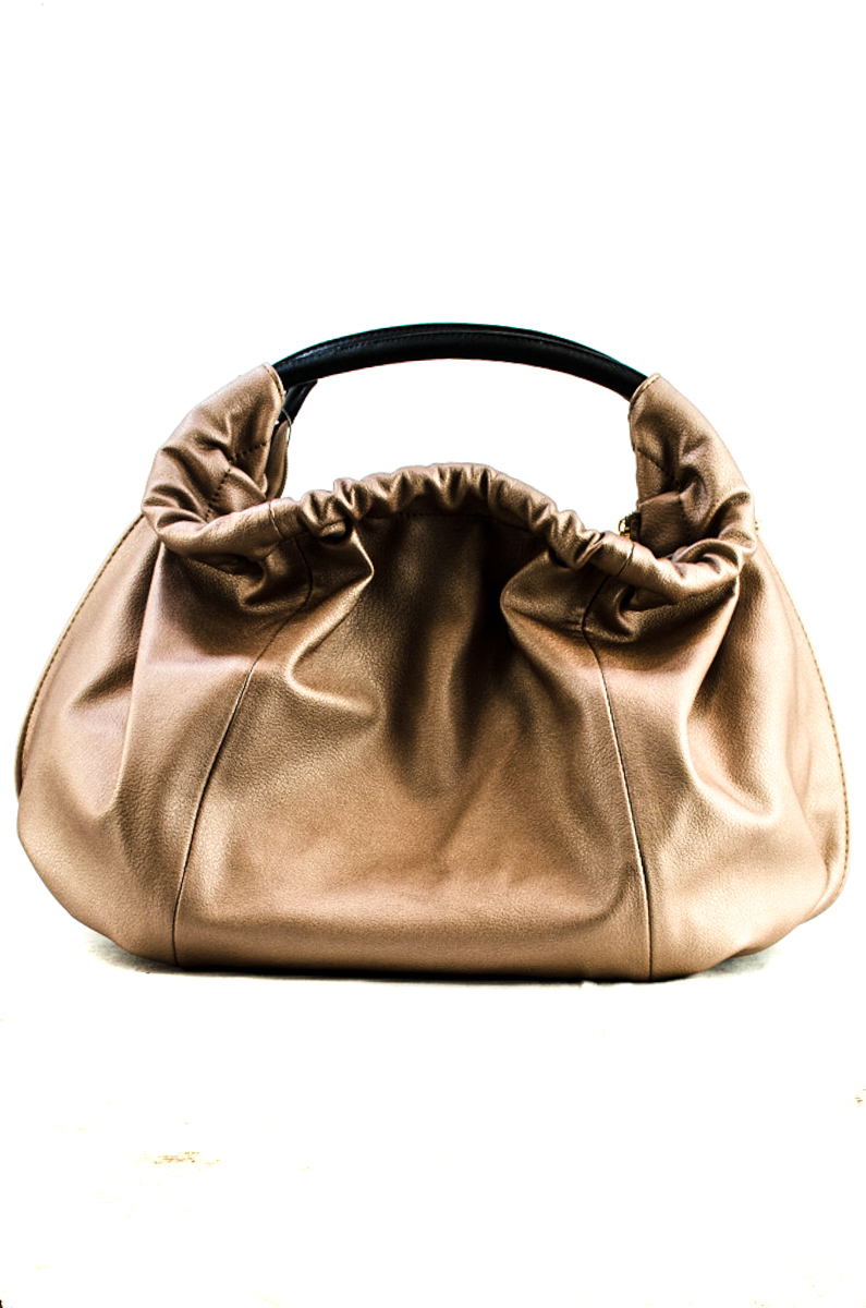 Round Shape Metallic Fabric Accented Satchel Bag With