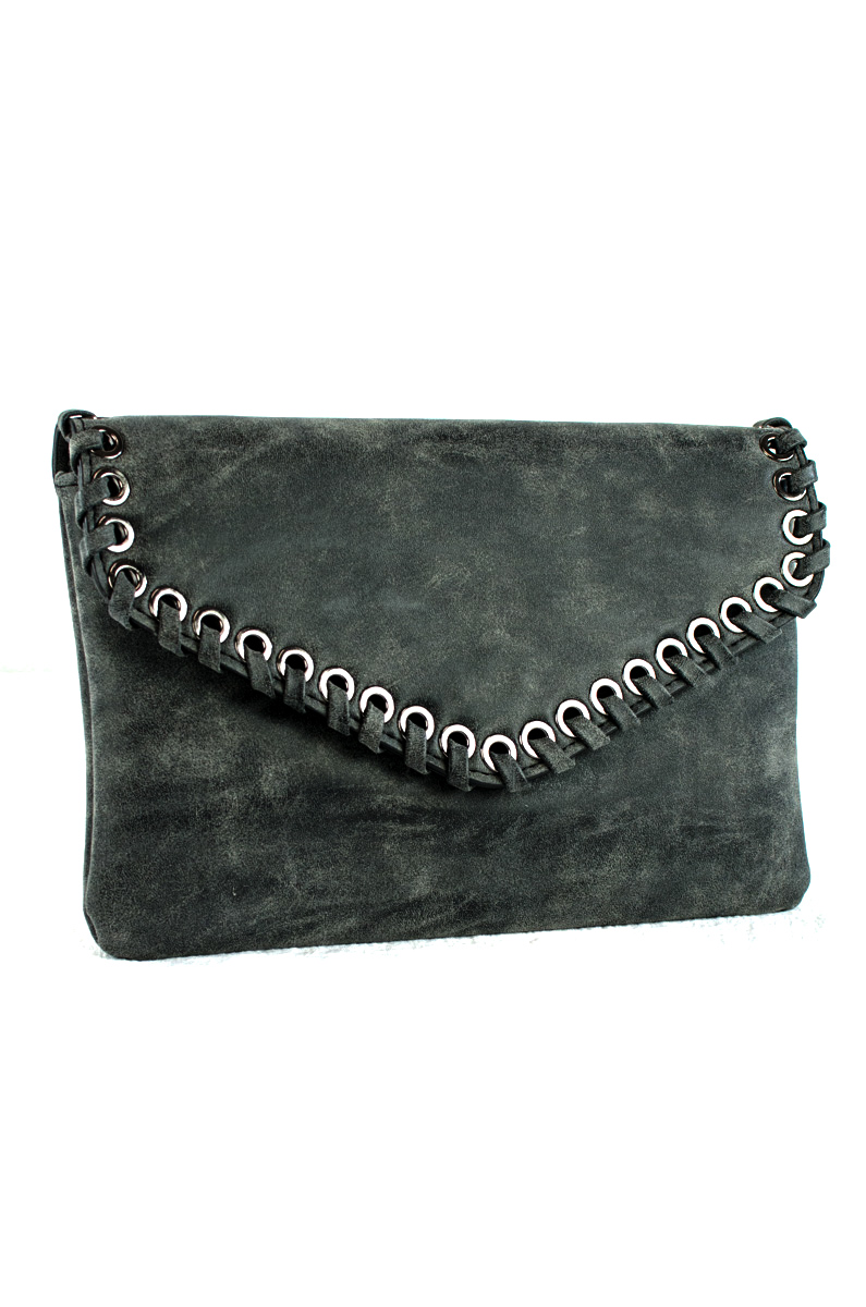 Envelope Style Stitch Flap Over Clutch With Strap Agp