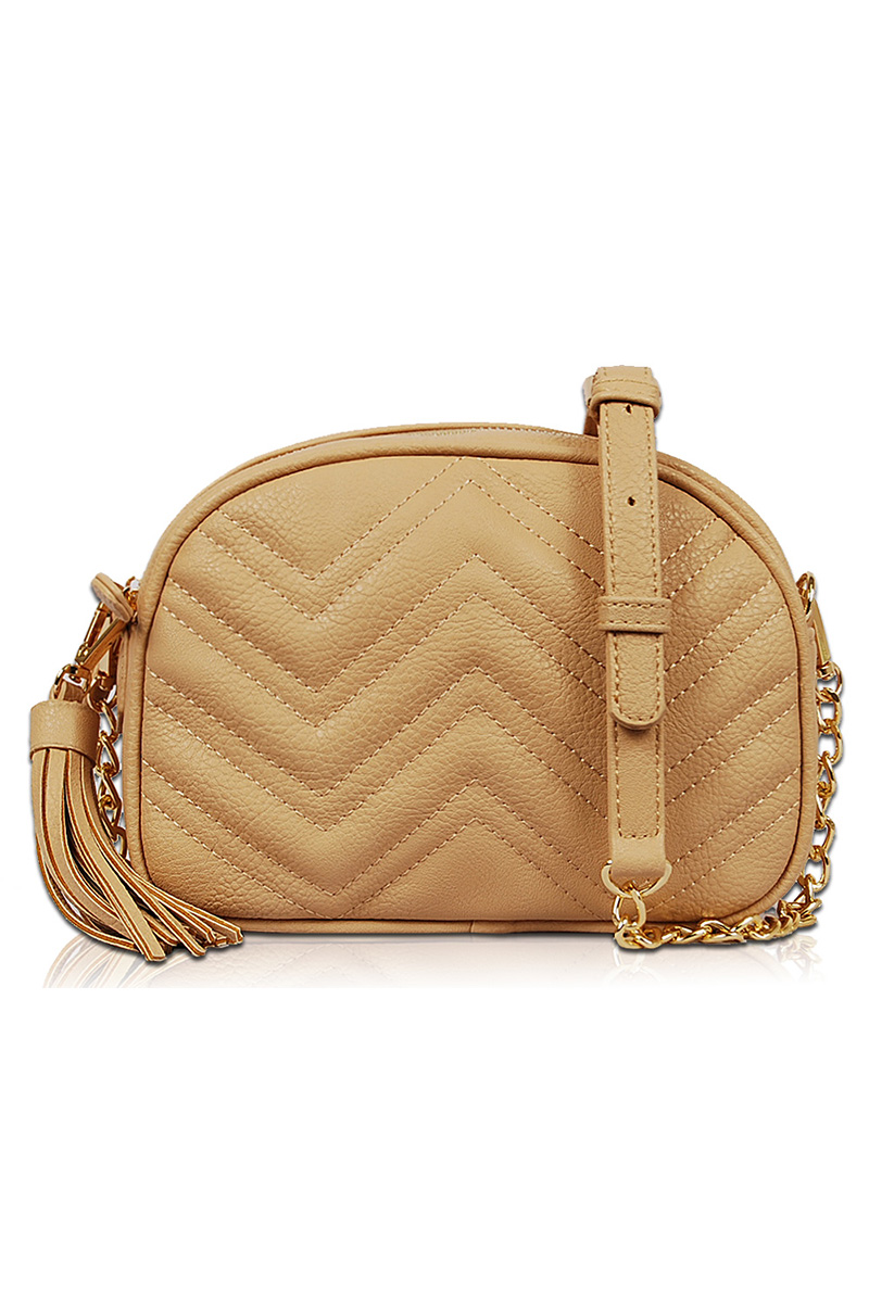 Solid Zigzag Quilted Messenger Bag With Chain Strap Agp