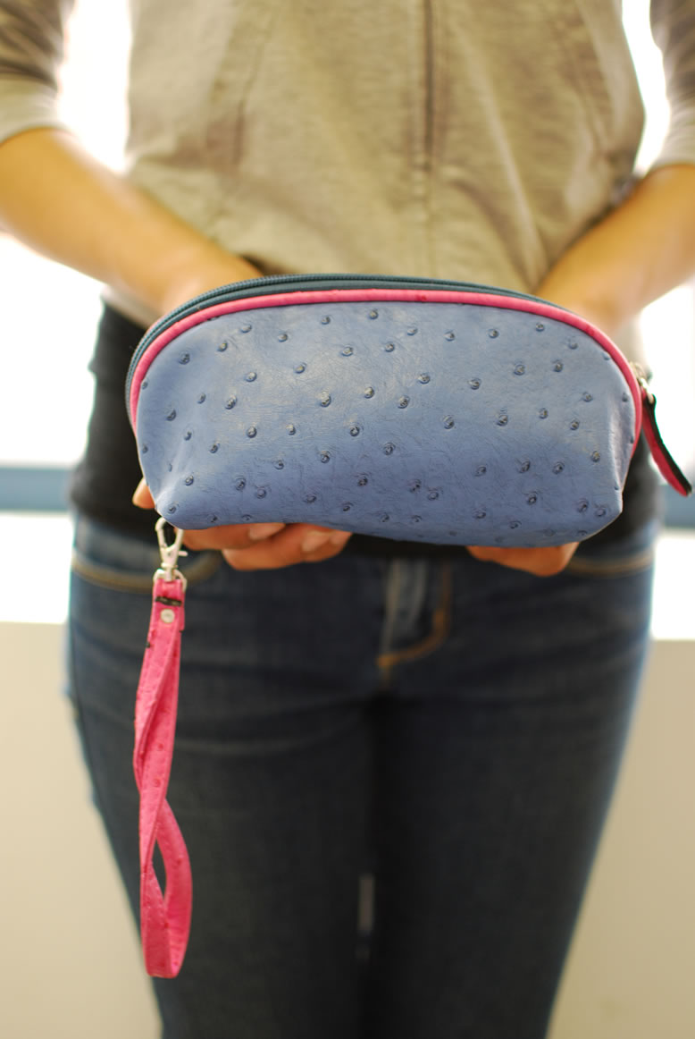 Ostrich Cosmetic Bag With Wrist Strap Detachable Gift