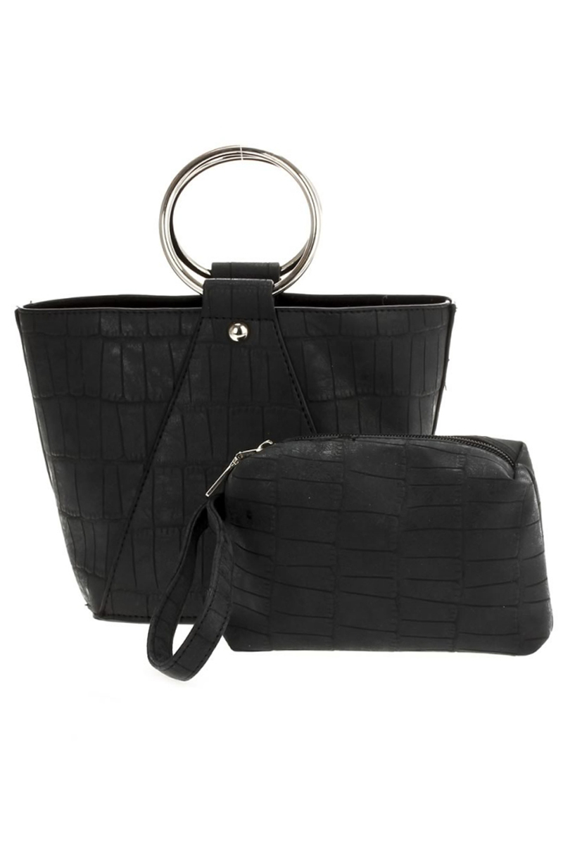 Two In One O Ring Handle Bucket Bag With Cosmetic Bag