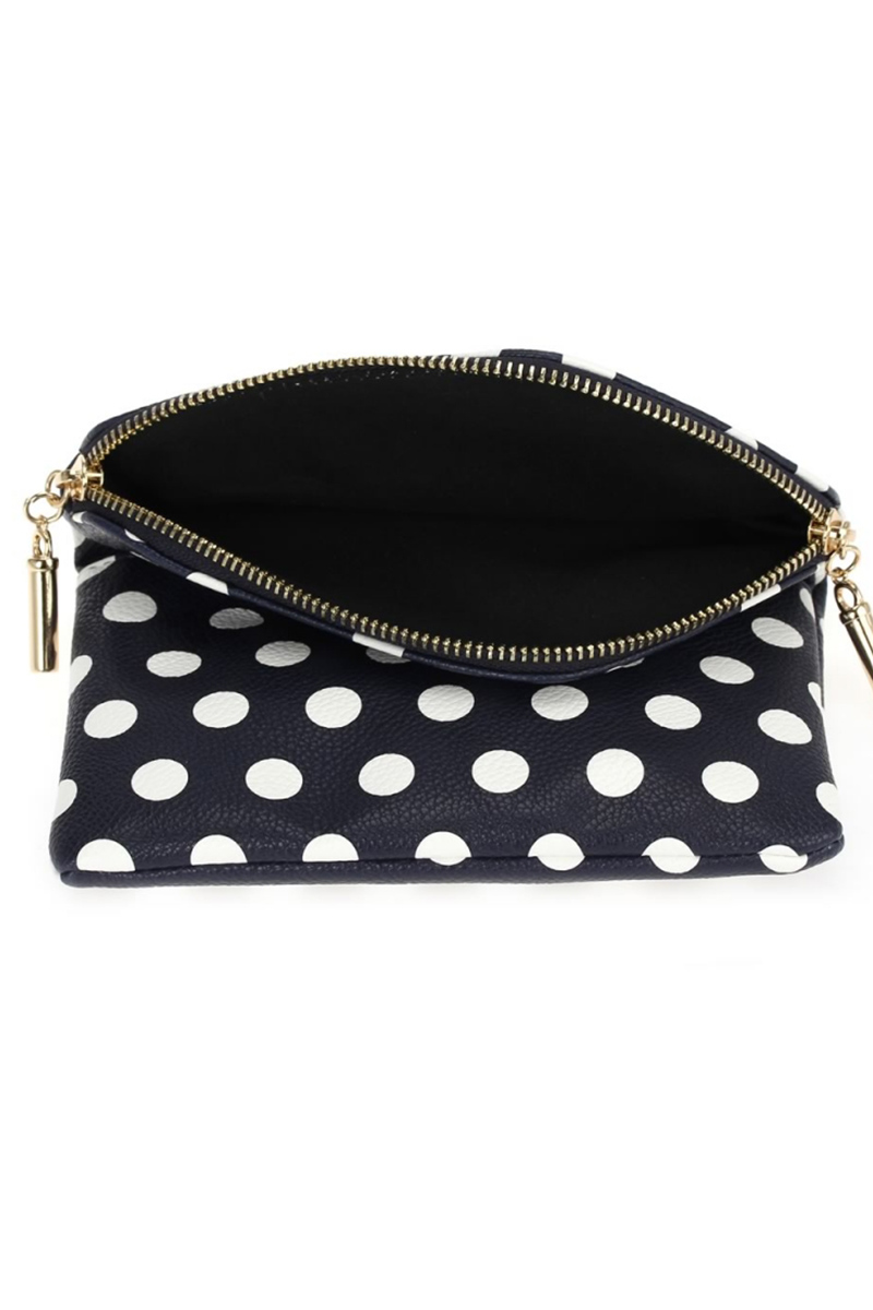 Print Polka Dot Flap Over Wallet With Zipper Pull Agp