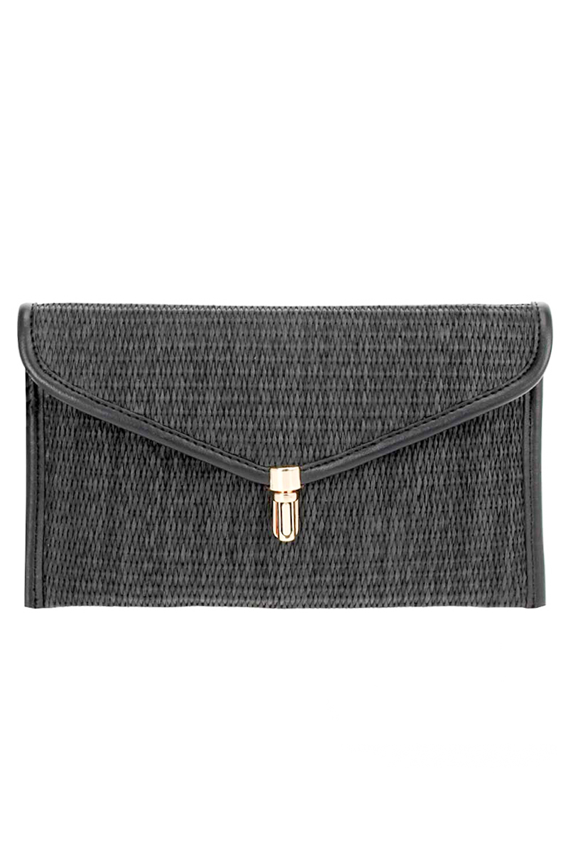 Solid Laser Cut And Tassels Flap Over Clutch With Strap