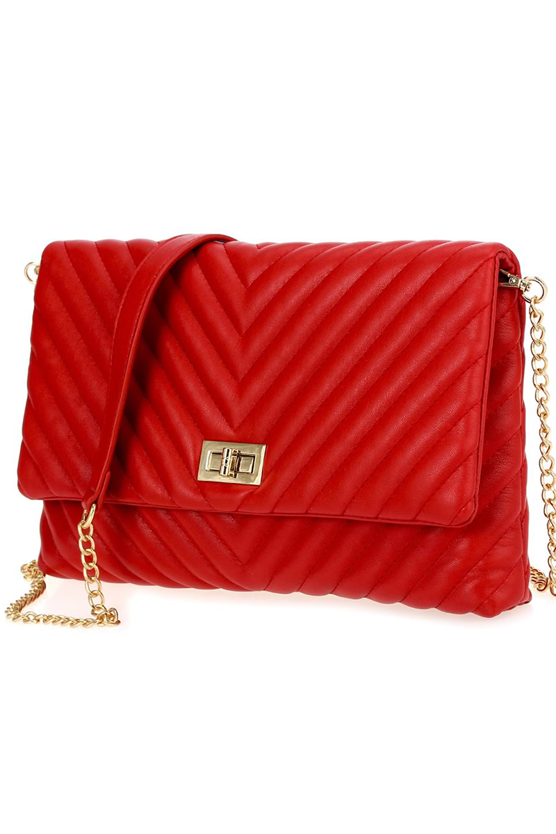 Solid Flap Over Quilted Chain Strap Shoulder Bag - Agp