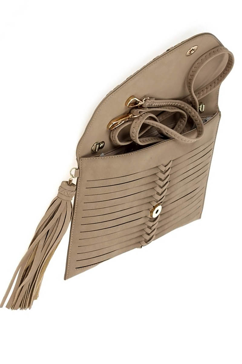 Solid Stitched Flap Over Tassel Clutch With Strap - Agp