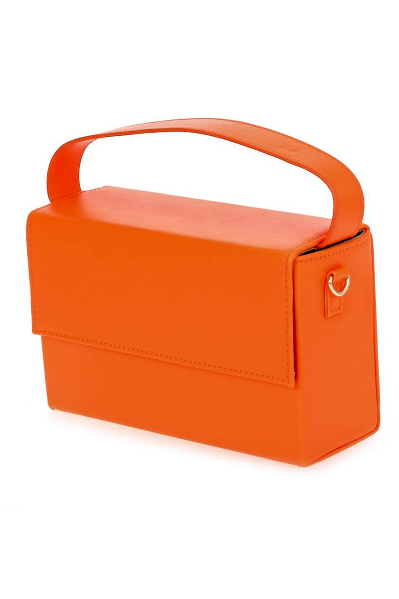 Solid Neon Color Box Clutch With Chain Strap Agp