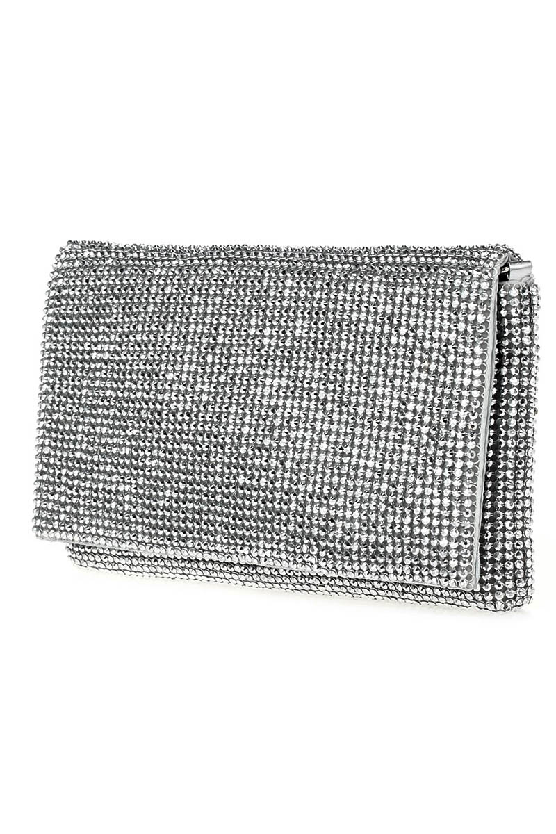 Solid Flap Over Quilted And Studs Clutch With Chain Strap