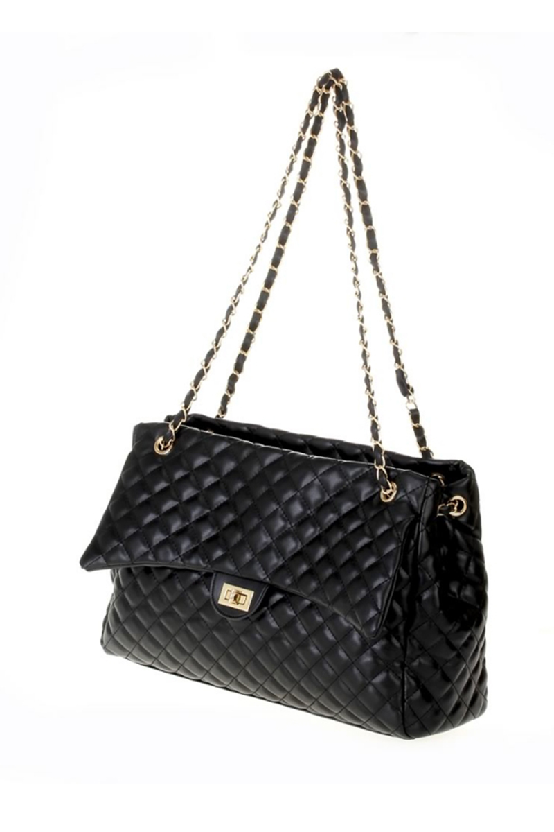 Solid Twisted Flap Over Clutch With Chain Strap - Agp
