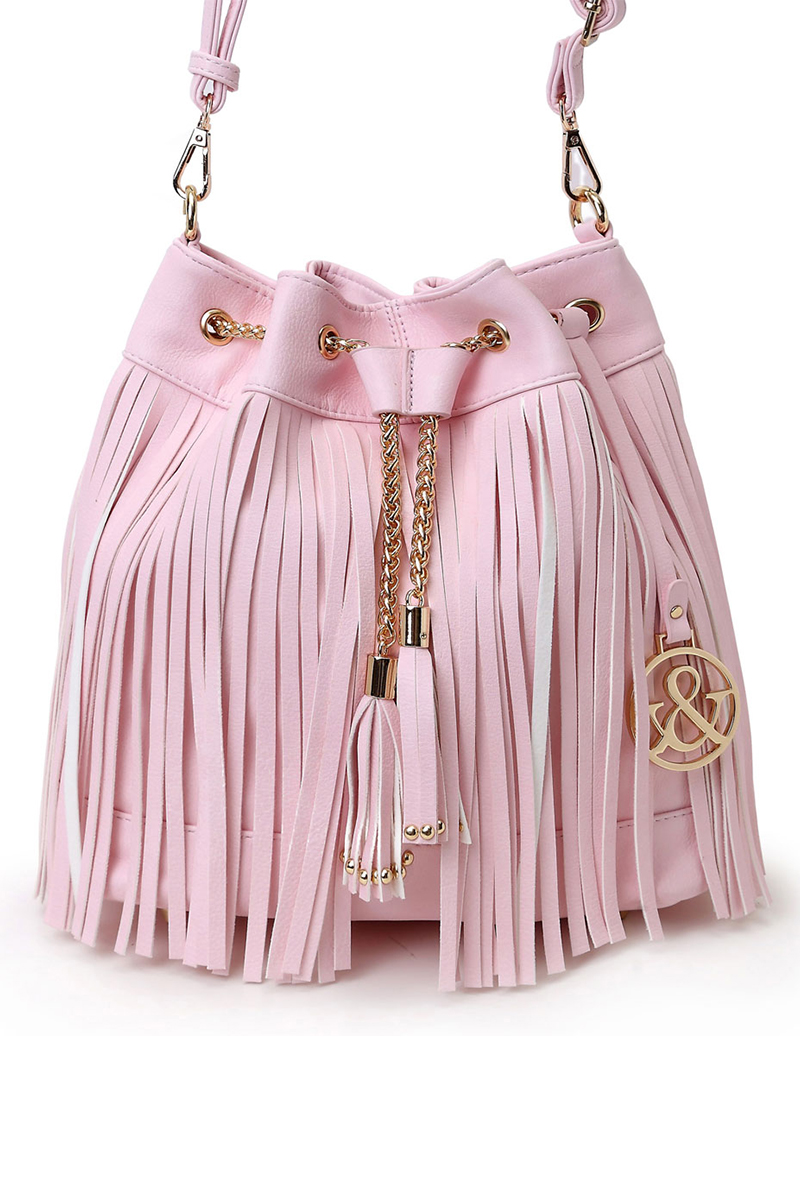 Tassels Accented Draw Sting Bucket Style Messenger Bag Agp