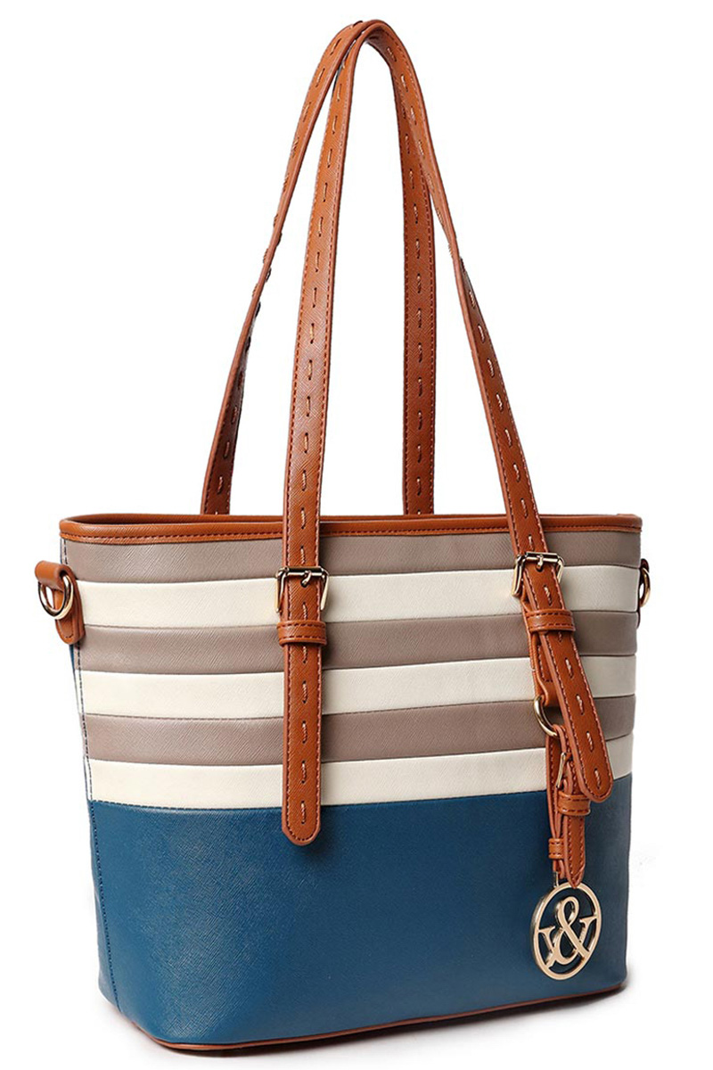 Multi Color Tone Stripe Accented Long Handle Tote Handbags With ...