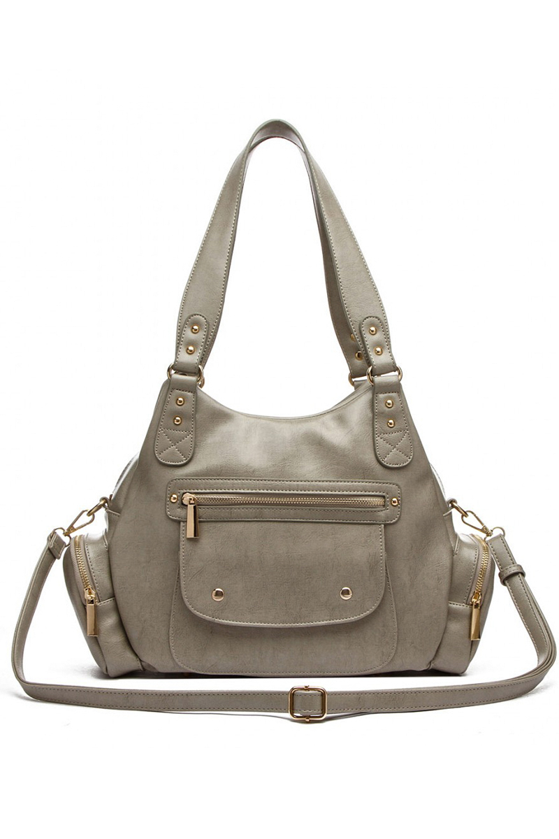 Solid Front Pockets And Side Hobo Bag With Shoulder
