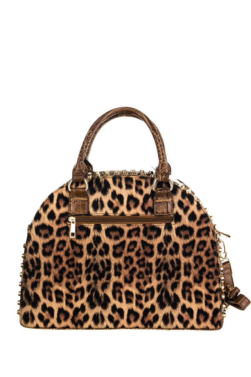 Leopard Print And Studs Accented Top Handle Satchel Bag