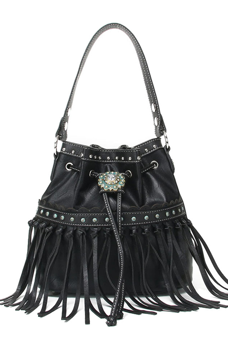 Western Cowgirl Fringed And Tassels Draw String Bucket Bag
