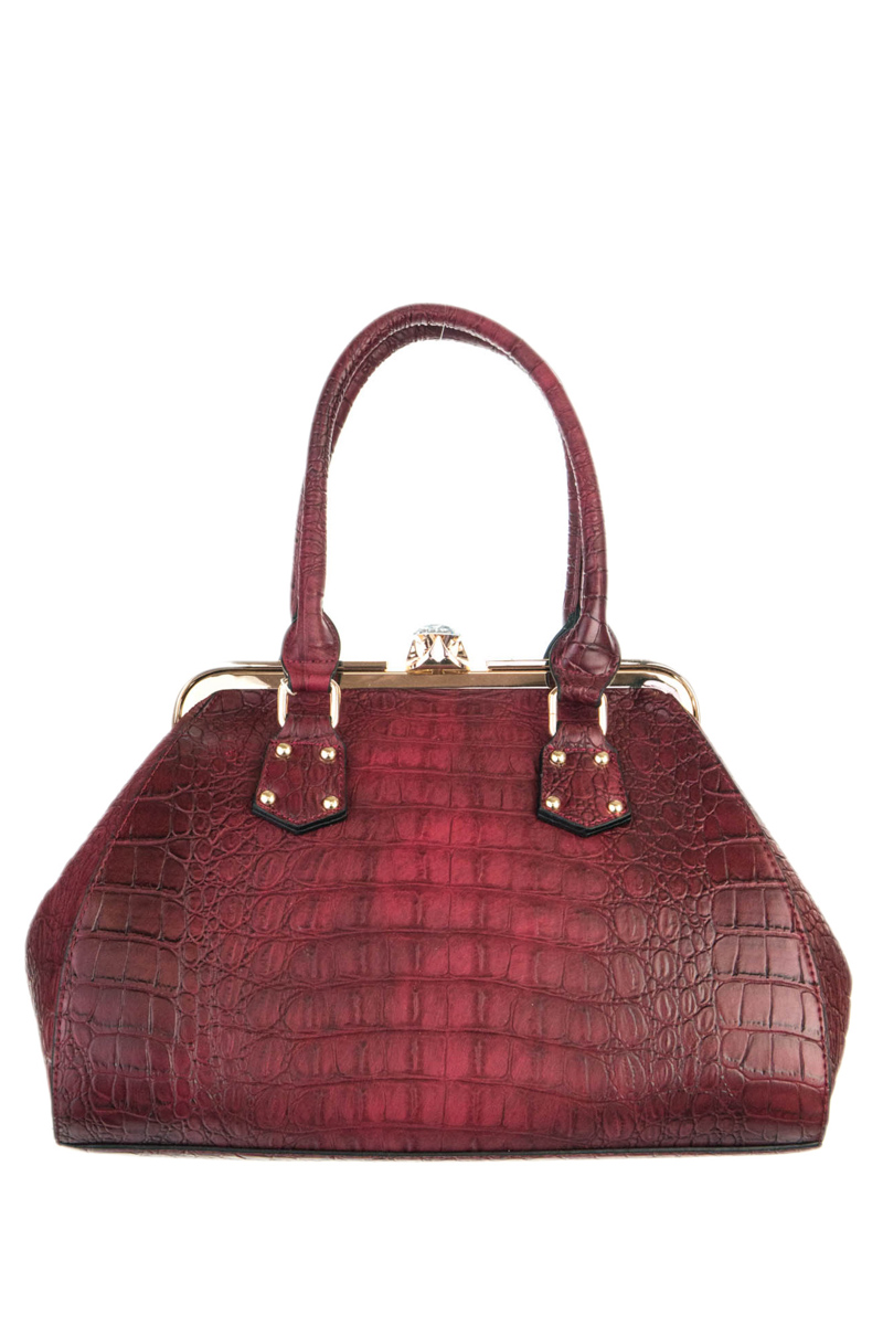 Crocodile And Metal Frame Accented Top Handle Satchel Bag
