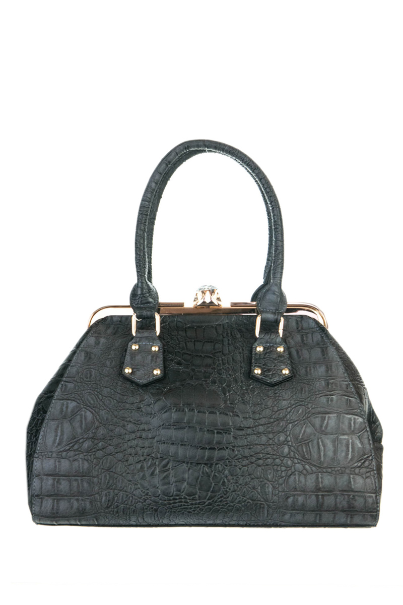 Crocodile And Metal Frame Accented Top Handle Satchel Bag With S ...
