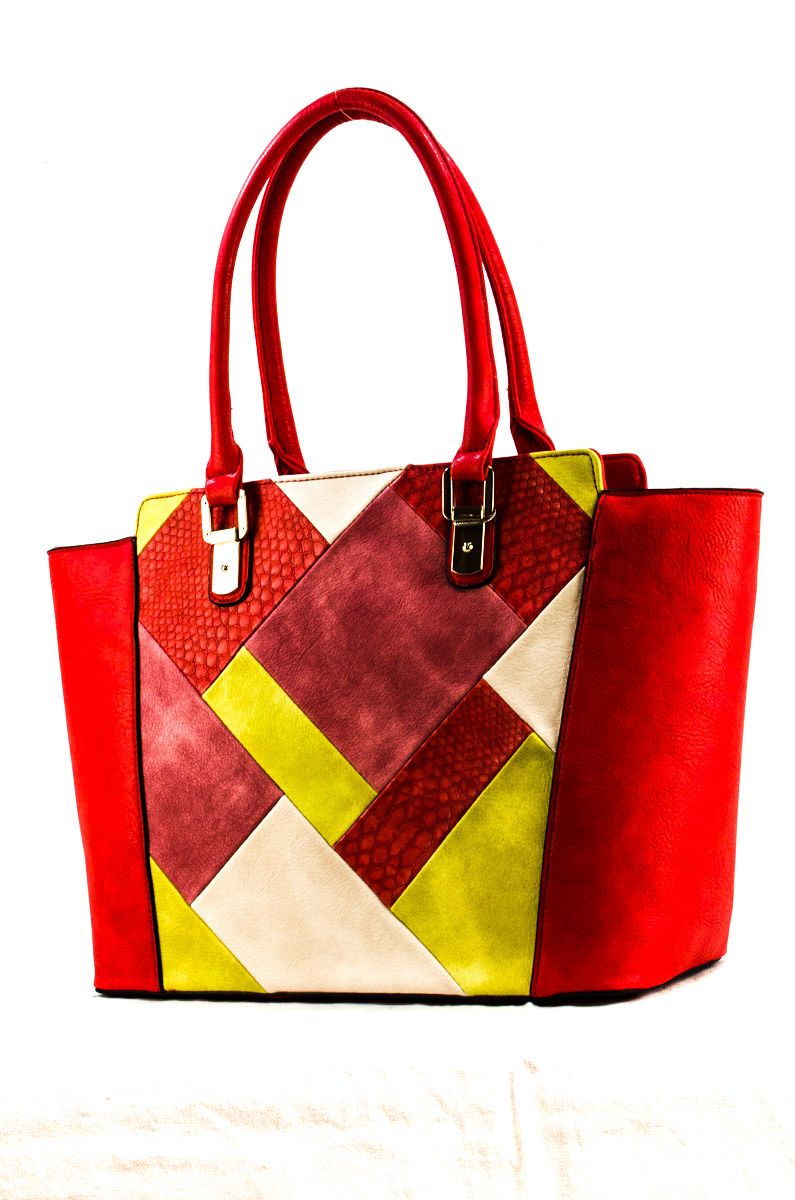 27fd766c13e6 Multi Color Patch Accented Top Handle Tote Bag. Home · Two Tones   More Bags  · Please upgrade to full version of Magic Zoom Plus™