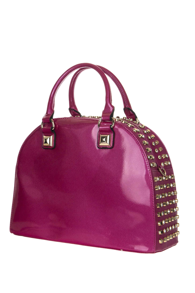 Rhinestone And Shinny Patent Leather Top Handle Satchel