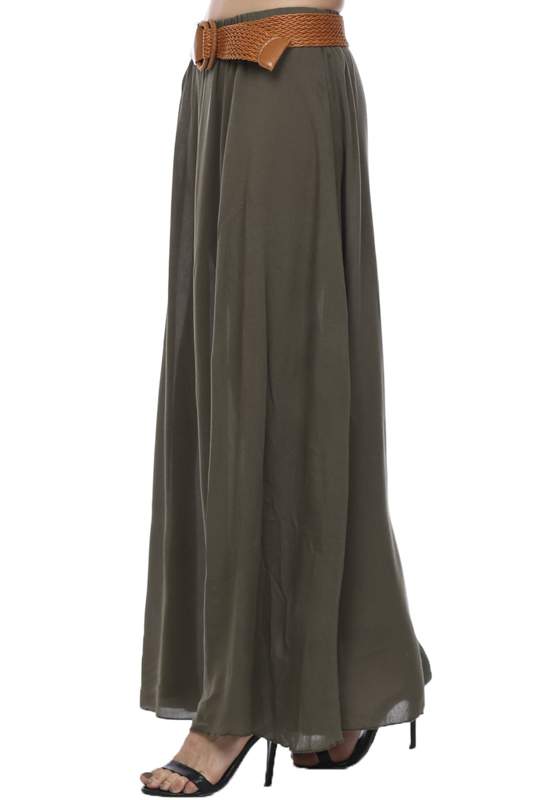 solid color belted rayon maxi skirt agp handbags apparel