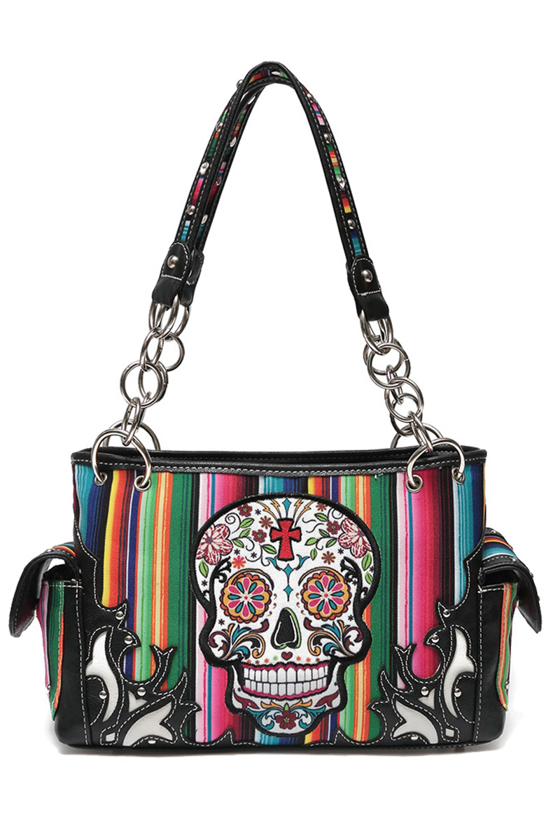 Western Cowgirl Skull And Rainbow Double Pocket Satchel