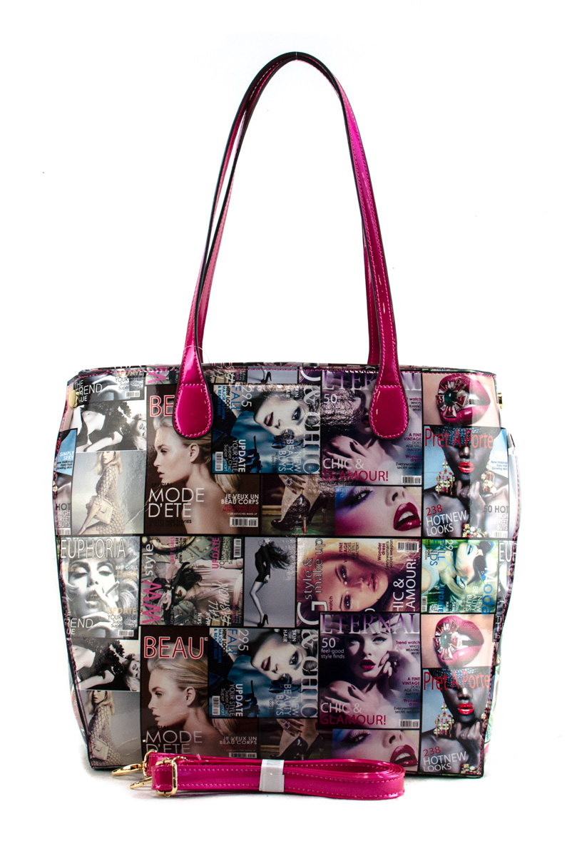 Various Magazine Print Accented Tote Bag With Strap Agp Handbags Arel
