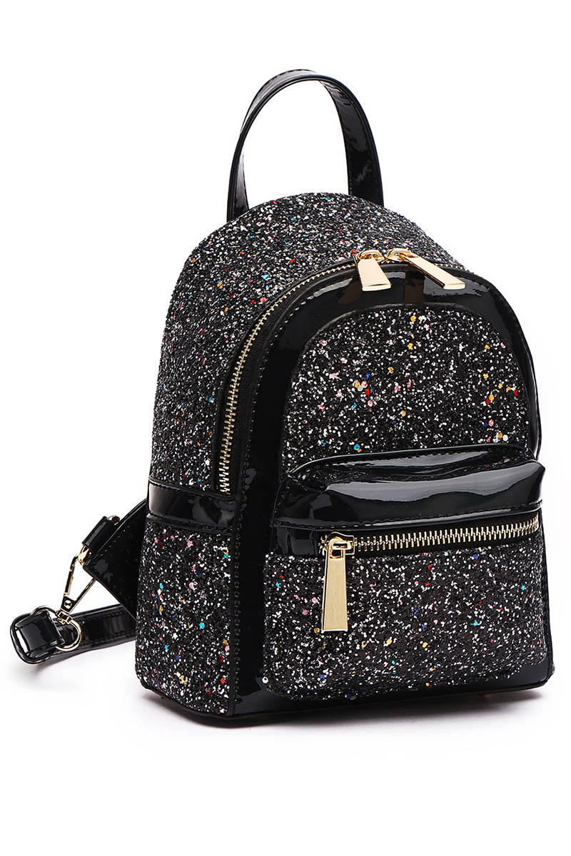 Metallic Glitter Fashion Backpack With Front Zipper Pocket