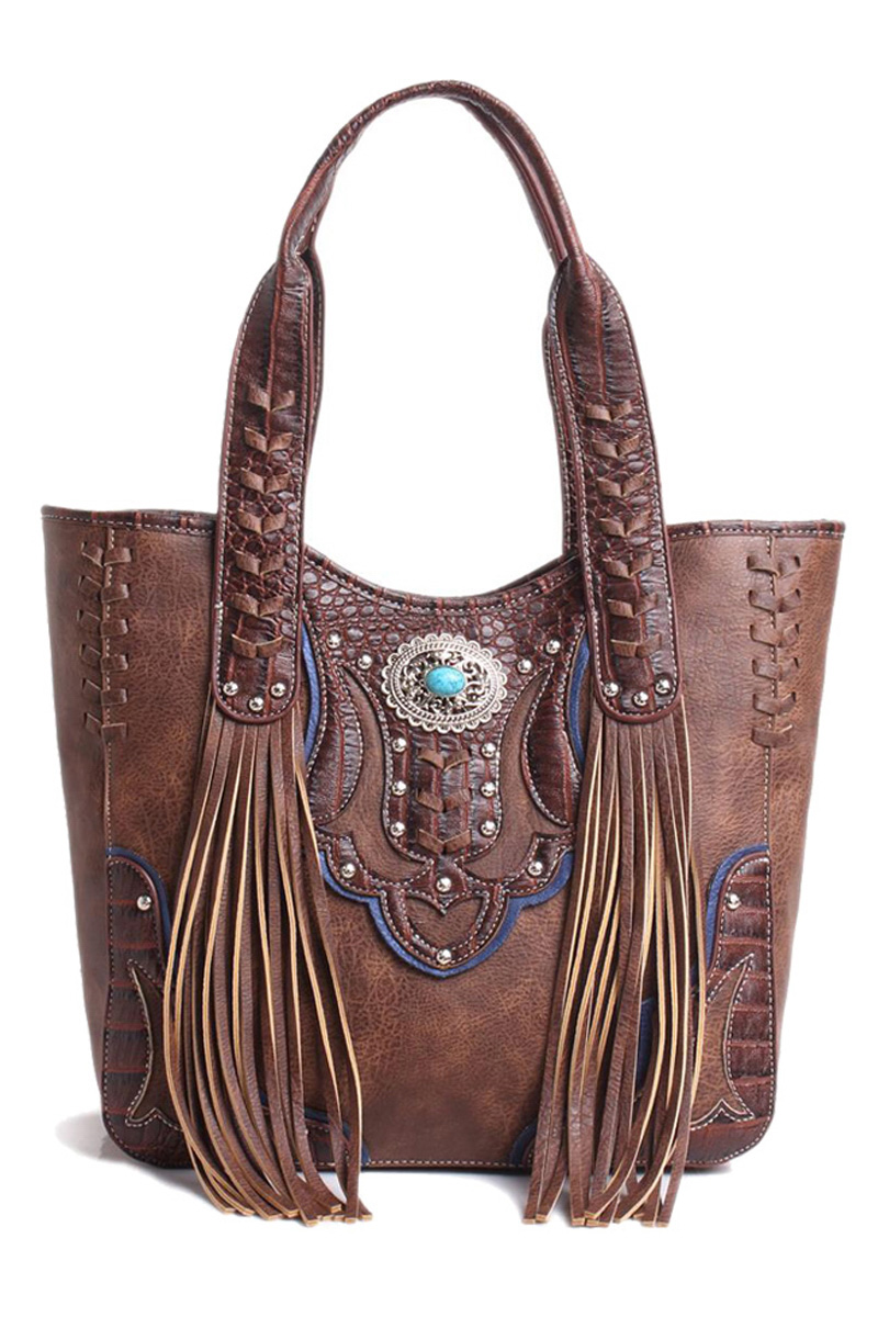 western cowgirl fringe and symbol top handle tote bag