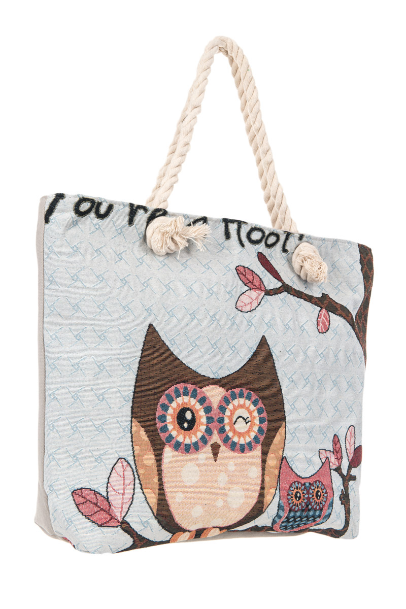 458c2f562d Restocked Owl Print Accented Tote Bag With Knot Handle. Home · Canvas  Handbags · Please upgrade to full version of Magic Zoom Plus™
